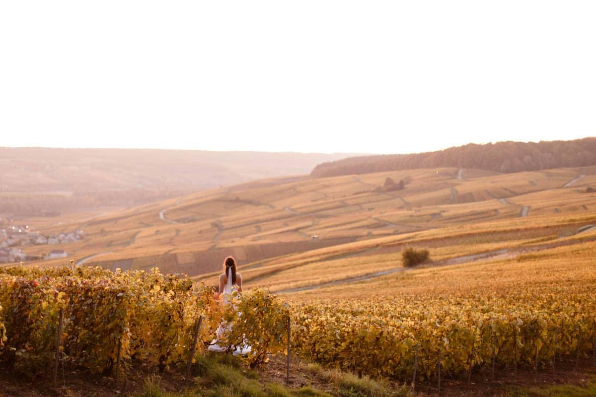 Une mariee dans les vignes aux couleurs de l'automne proche d'Epernay