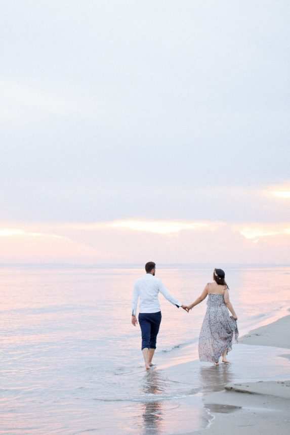 Romantic engagement session in south of France along the Mediterranean coastline